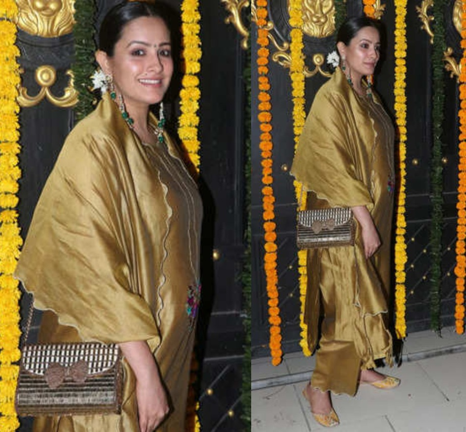 anita hassanandini in mustard gold salwar suit in ekta kapoor diwali 2020 party