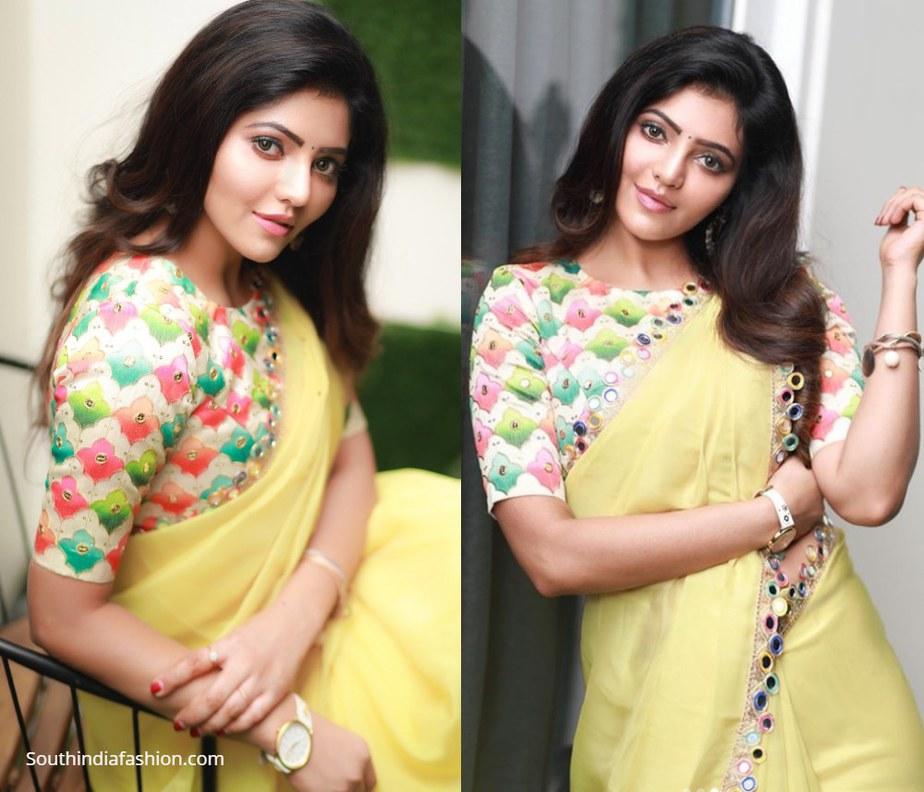 athulyaa ravi in yellow mirror work saree and multicolour blouse