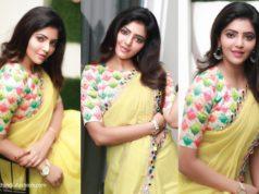 athulyaa ravi in yellow mirror work saree with multicolour blouse