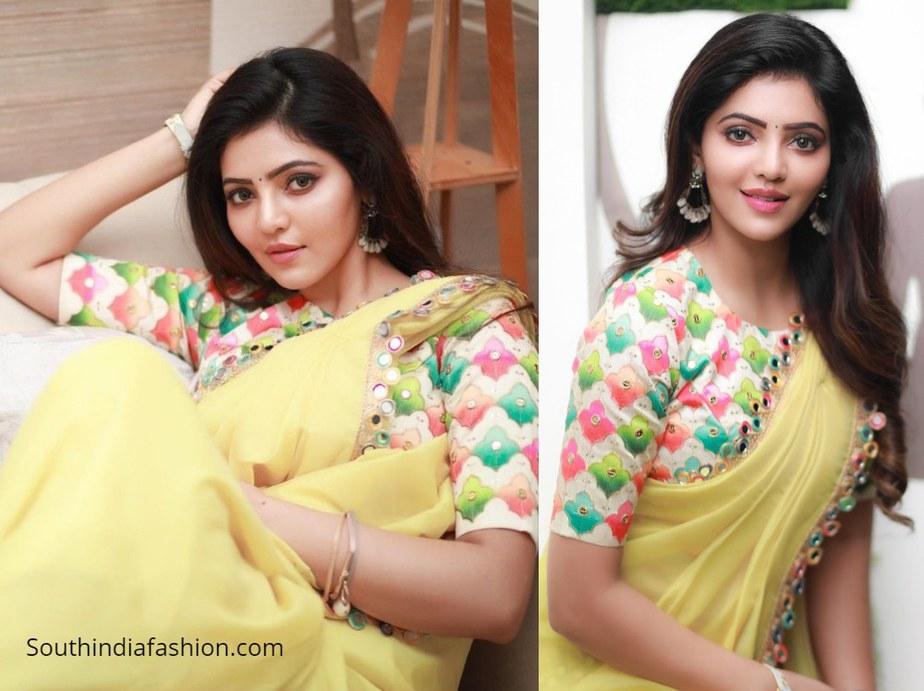 athulyaa ravi in yellow mirrorwork saree and multicolour blouse