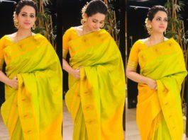 bhavana's diwali 2020 lime green silk saree