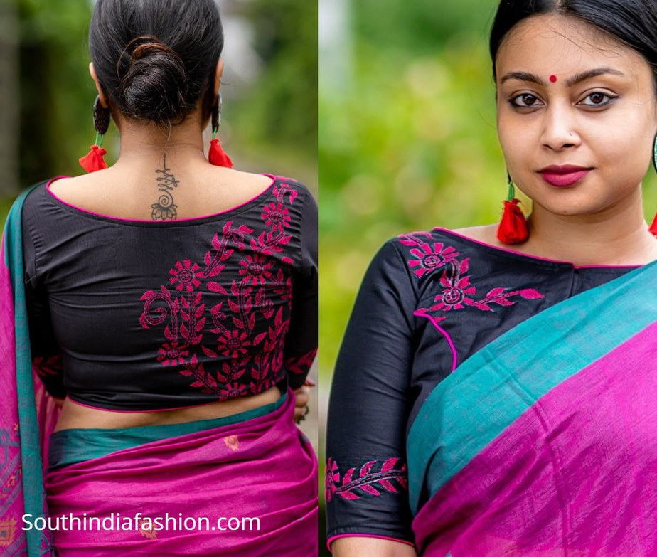 black blouse with purple embroidery flower design