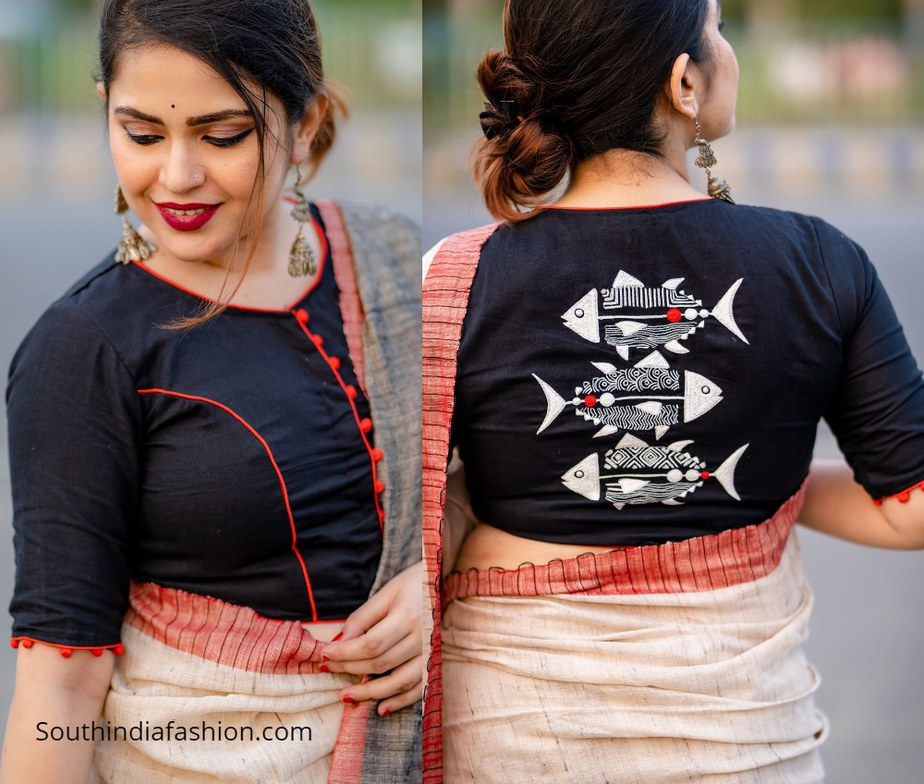 black choli with hilsa fish design on back
