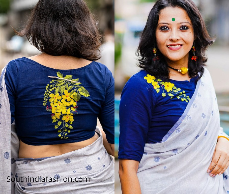 blue blouse with yellow amaltas flower