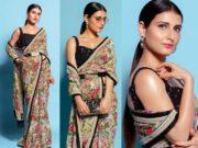 fatima sana shaikh in sabyasachi saree with belt for diwali 2020