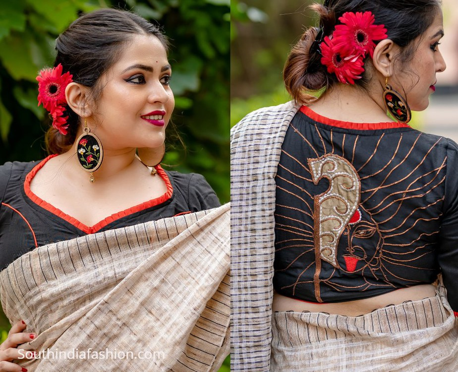 goddess kali design on black blouse with red lining