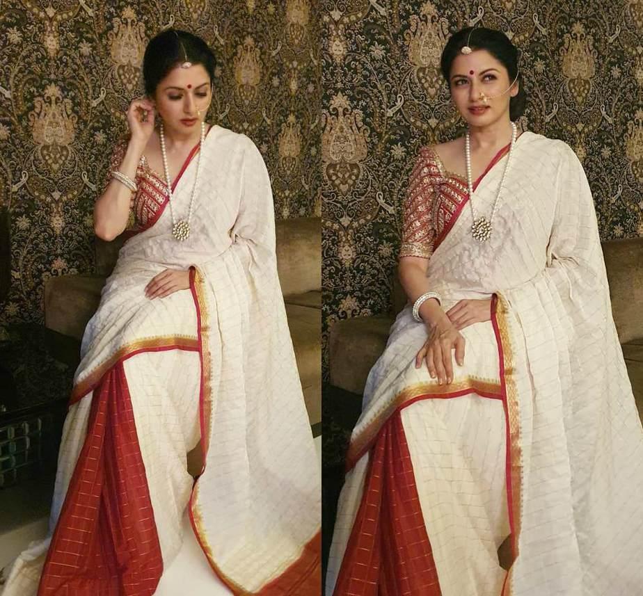 Bhagyashree in a stunning red and white saree