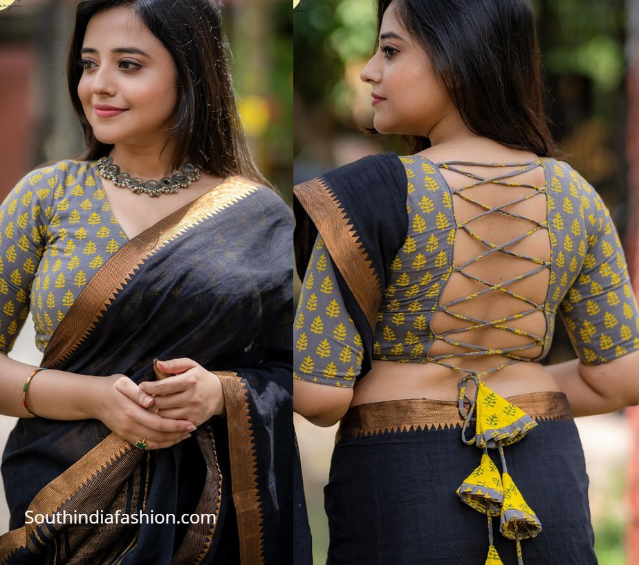 grey and yellow block printed choli with tassels on back