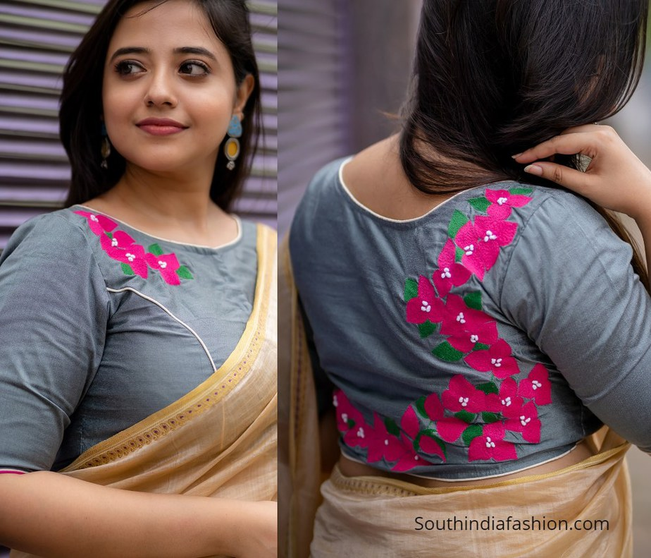 grey blouse with pink flower design