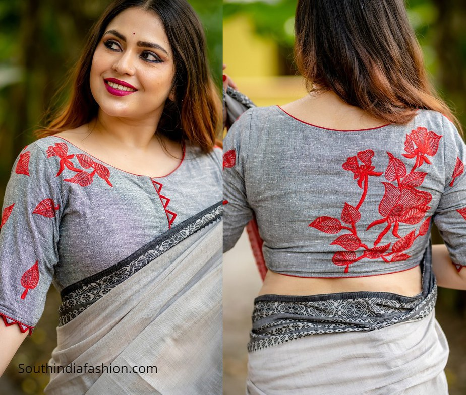 grey blouse with red rose design from motif by chandrayee