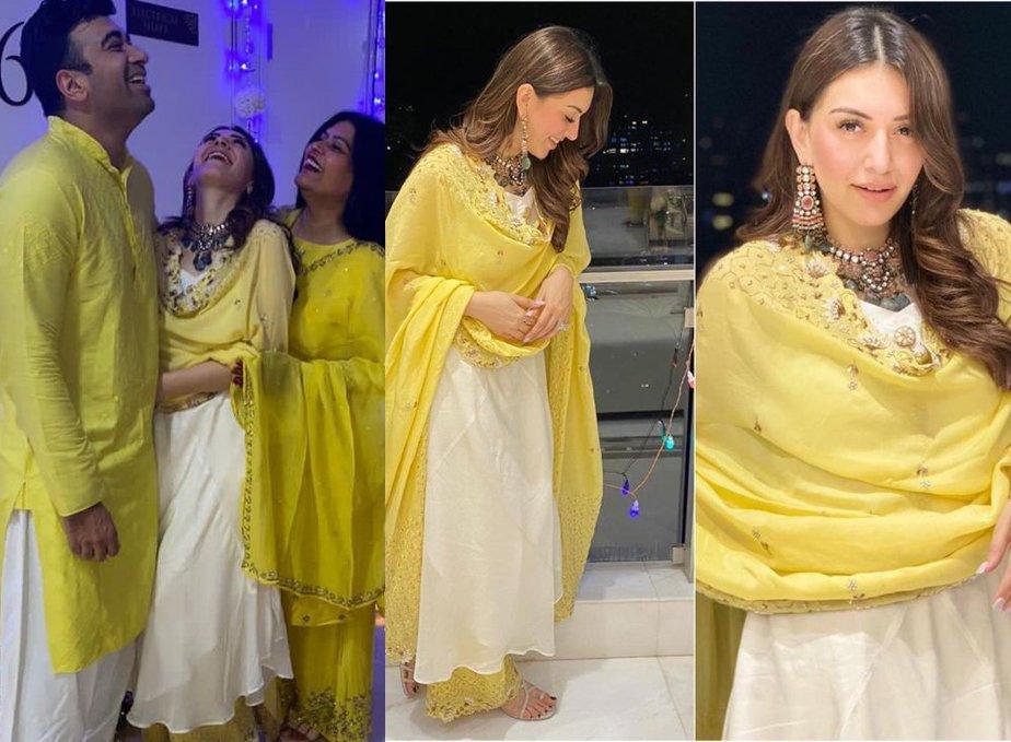 hansika in cream kurta set by Vves for diwali