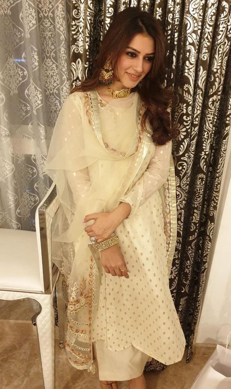 hansika motwani in off-white embroidered salwar suit set by kovet