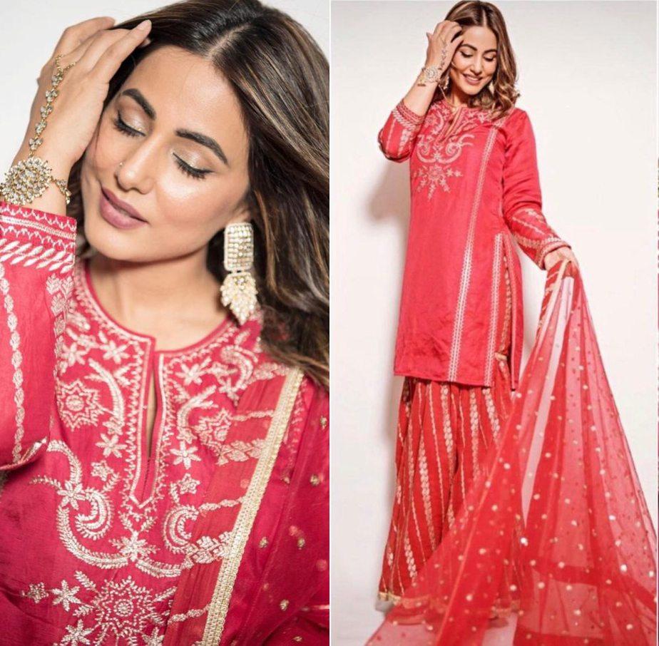 hina khan in red sharara suit from gopi vaid