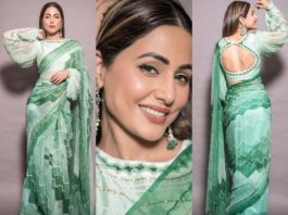 hina khan in green chiffon saree by pallavi jaipur.