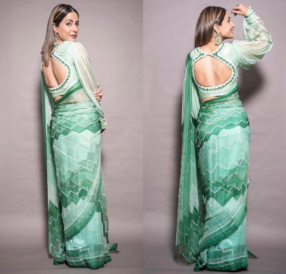hina khan in green chiffon saree by pallavi jaipur.