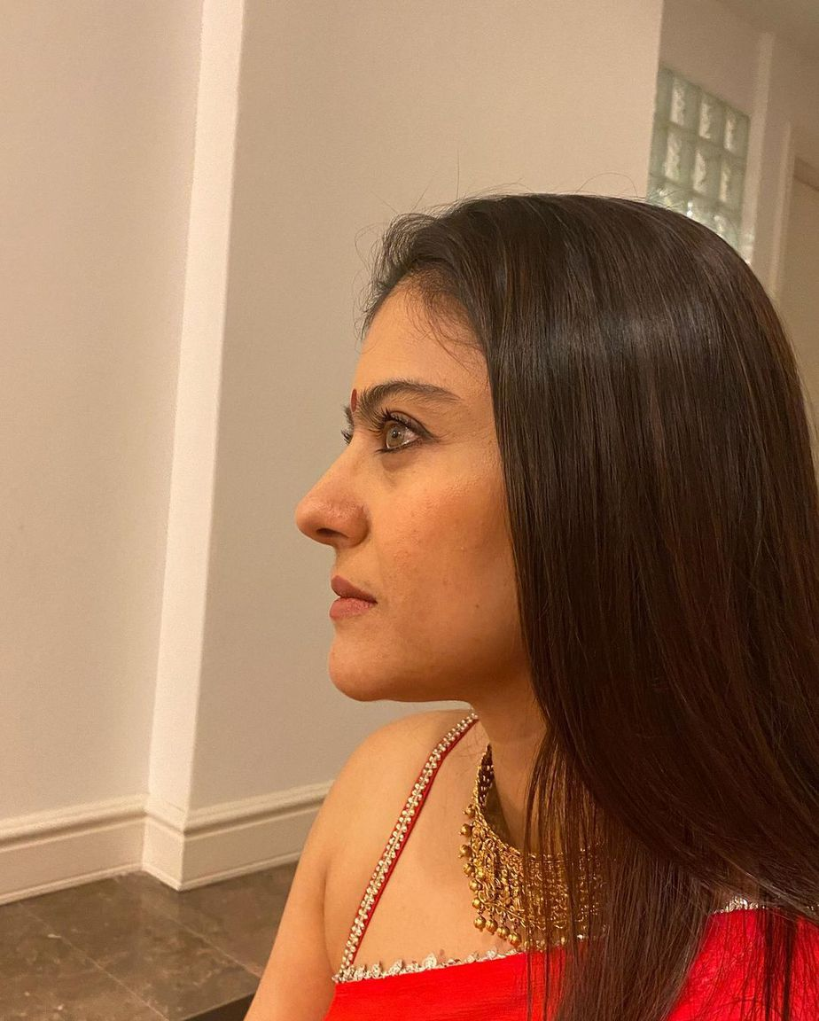 Kajol in a red saree