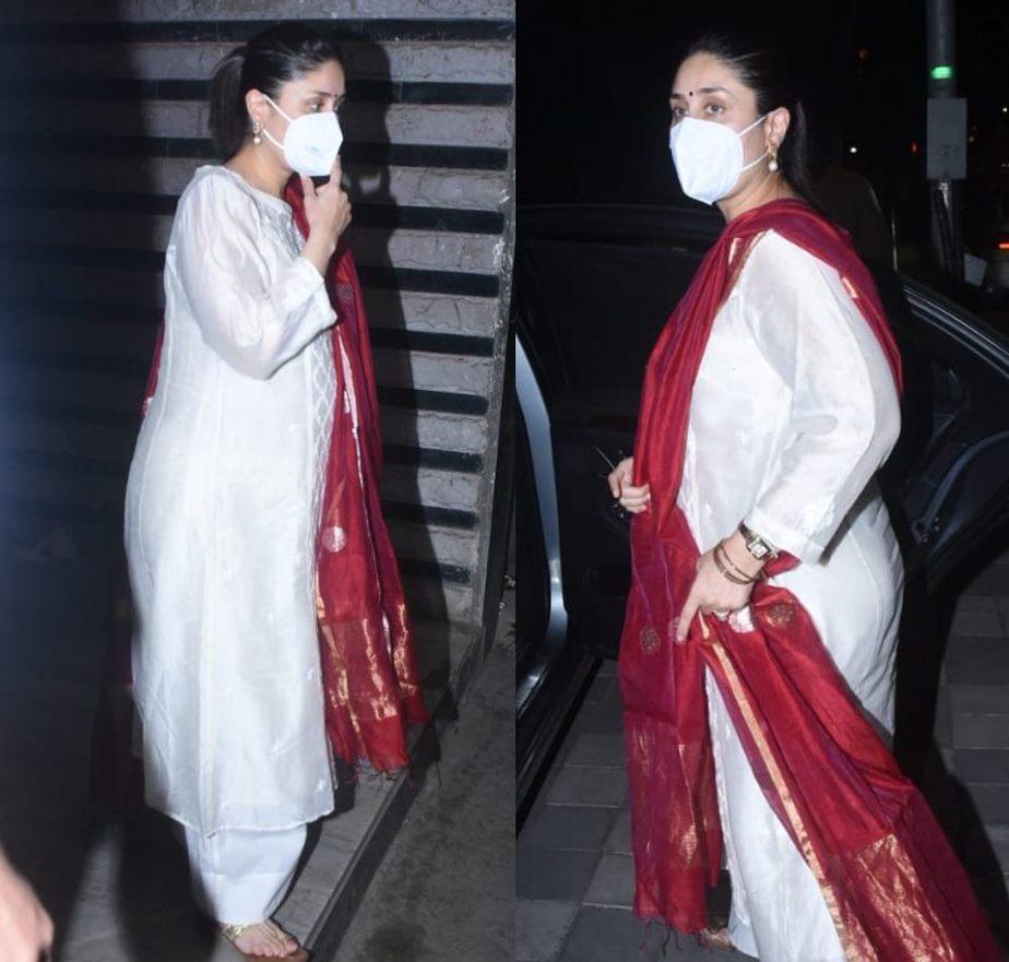 kareena kapoor in a white kurta set (1)