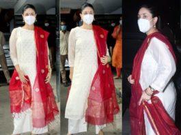kareena kapoor in a white kurta set (2)