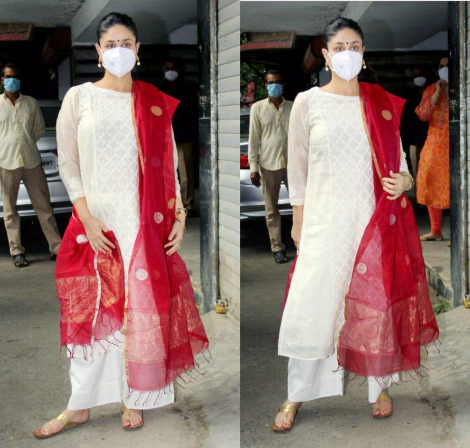 kareena kapoor in a white kurta set