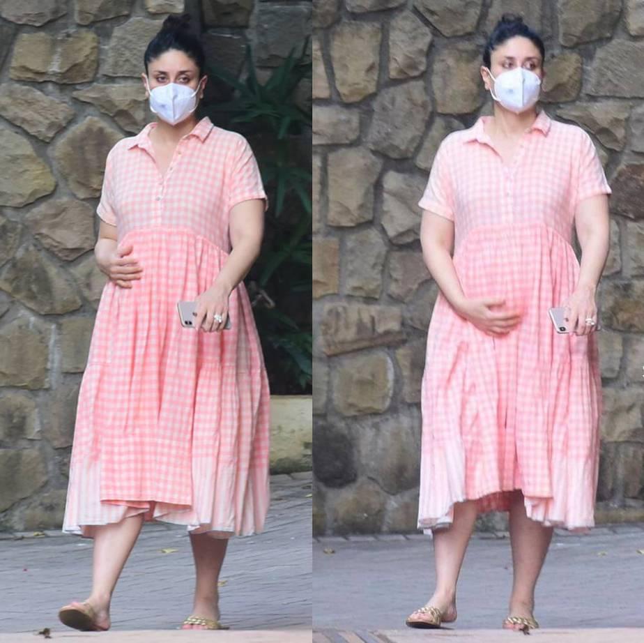 kareena kapoor maternity style checkered dress