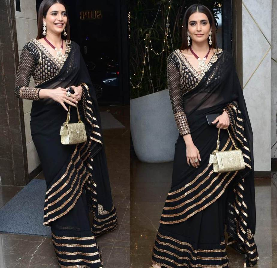 karishma tanna in black saree for diwali 2020