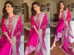 karishma tanna in pink kurta palazzo set