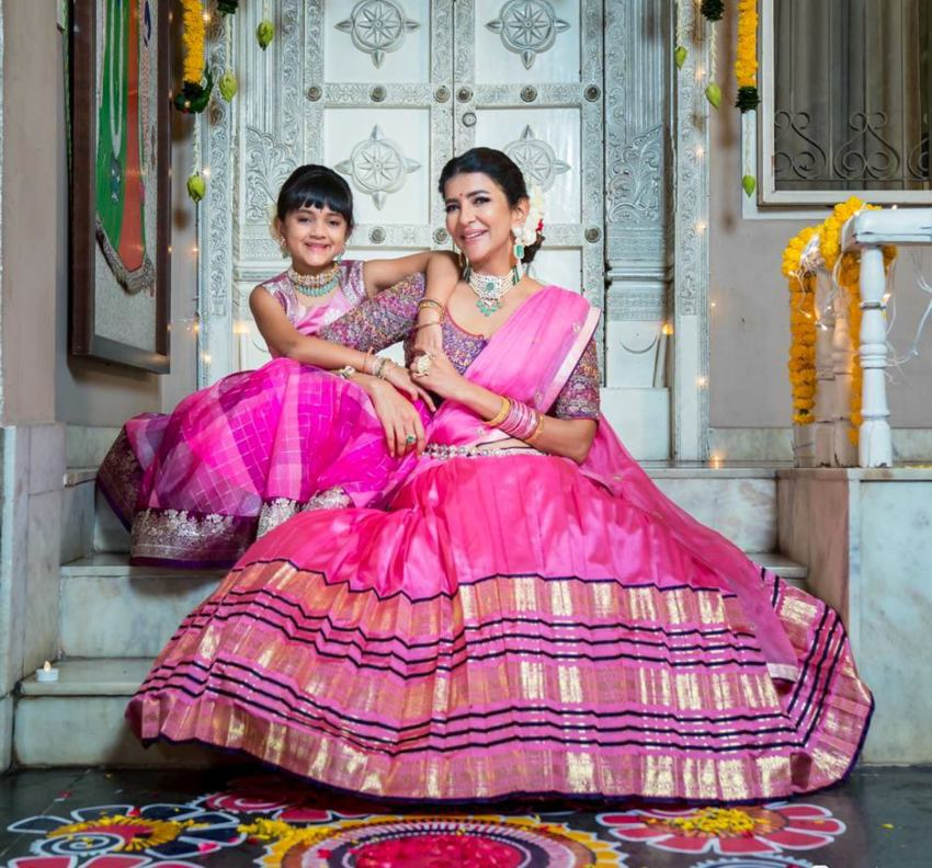 lakshmi manchu and her daughter in mathcing lehengas diwali