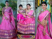 lakshmi manchu daughter in pink outfits diwali 2020
