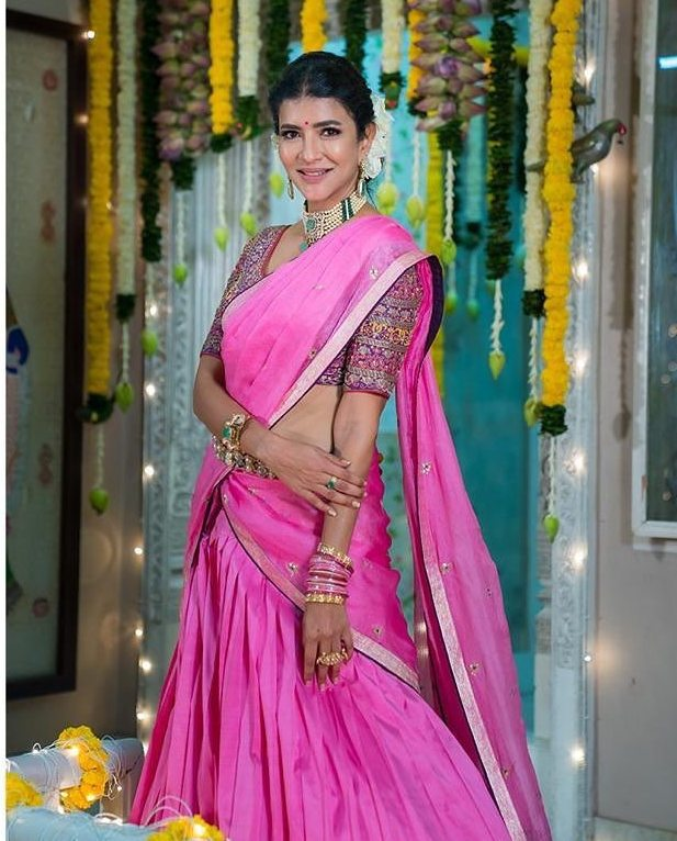 lakshmi manchu in pink half saree for diwali celebrations