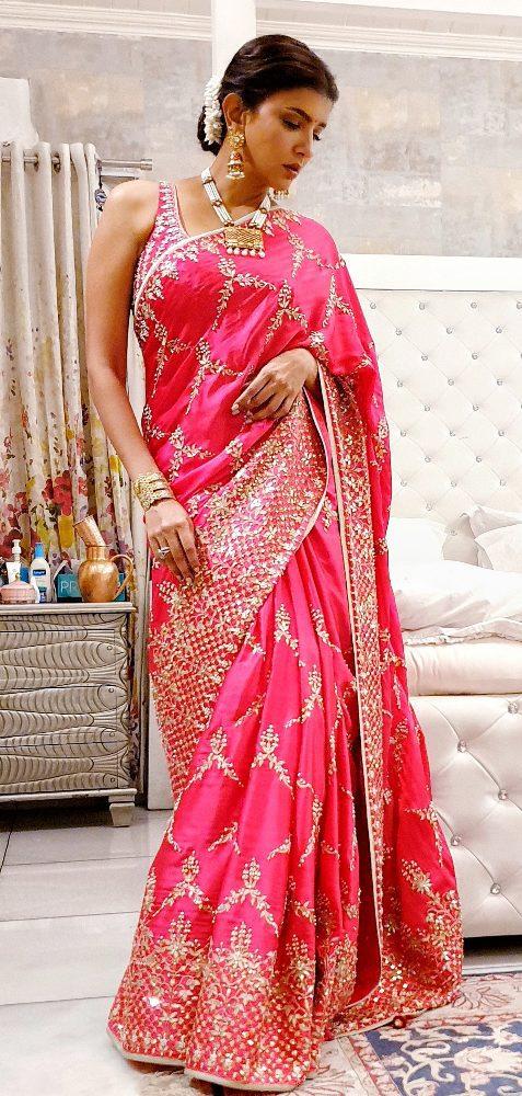 lakshmi manchu in red satin saree by lakshmi manchu