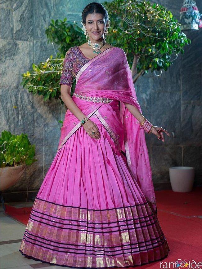lakshmi manchu pink half saree diwali 2020