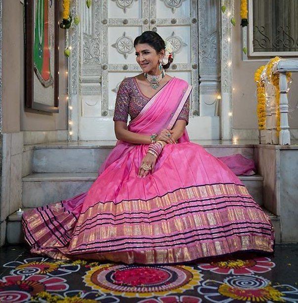 lakshmi manchu pink langa voni traditional look