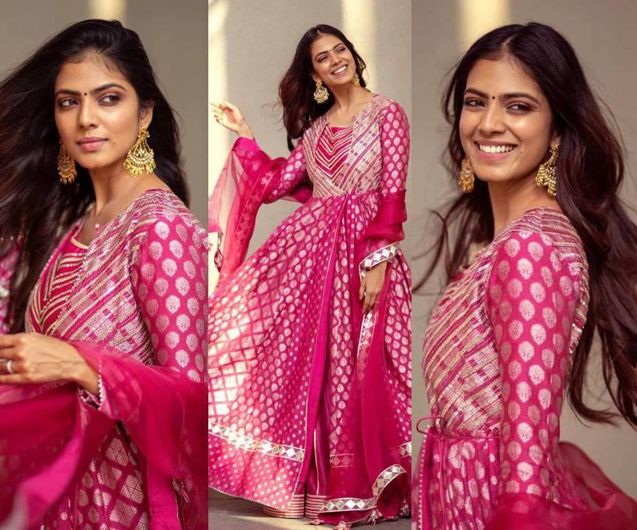 Malavika Mohanan in a Pink Anarkali by Simar Dugal