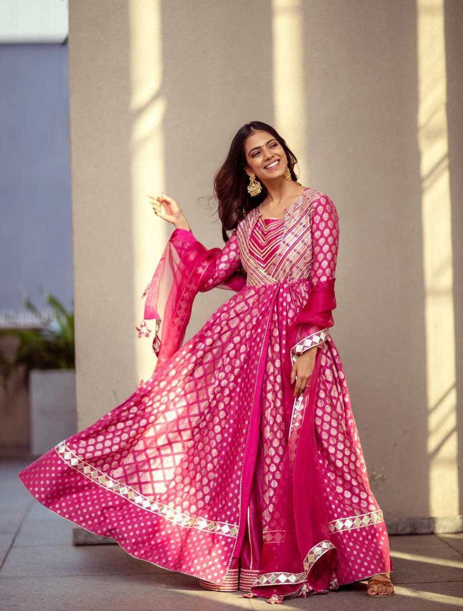Malavika Mohanan in a Simar Dugal pink Anarkali