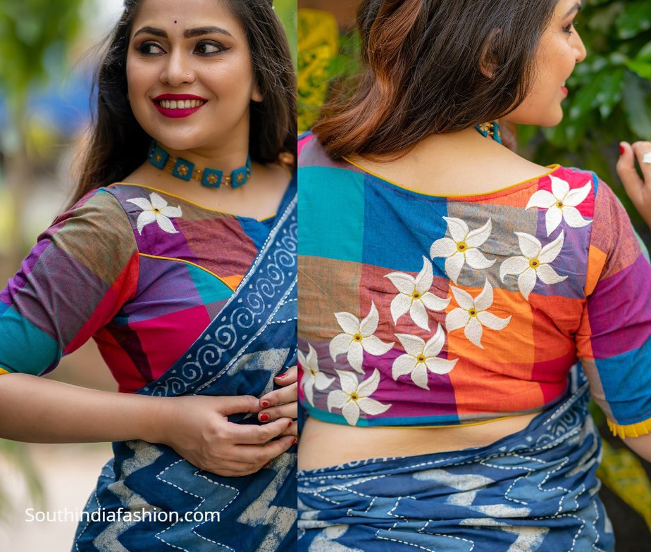 mutlicolour khadi cotton blouse with wheelflower design