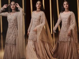 namitha pramod in golden sharara suit set