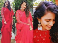 niharika konidela in a red ruffle saree