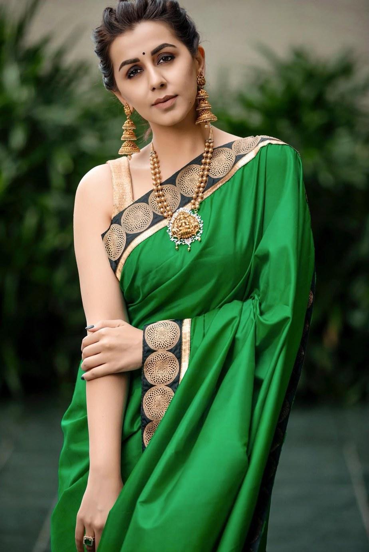 nikki galrani in green and gold saree