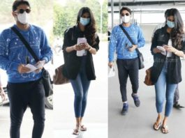 nithiin reddy and shalini kandukuri at airport