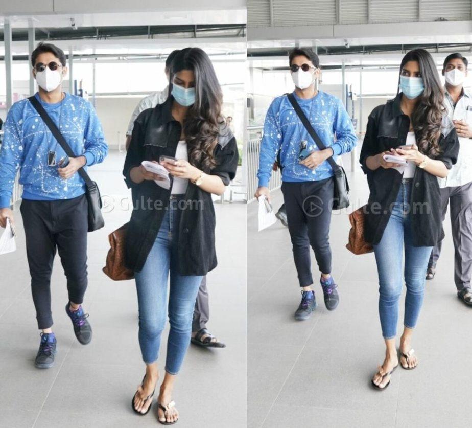nithiin reddy wife shalini kandukuri at airport for vacation