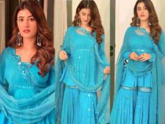 nupur sanon in blue sharara by sukriti and aakriti
