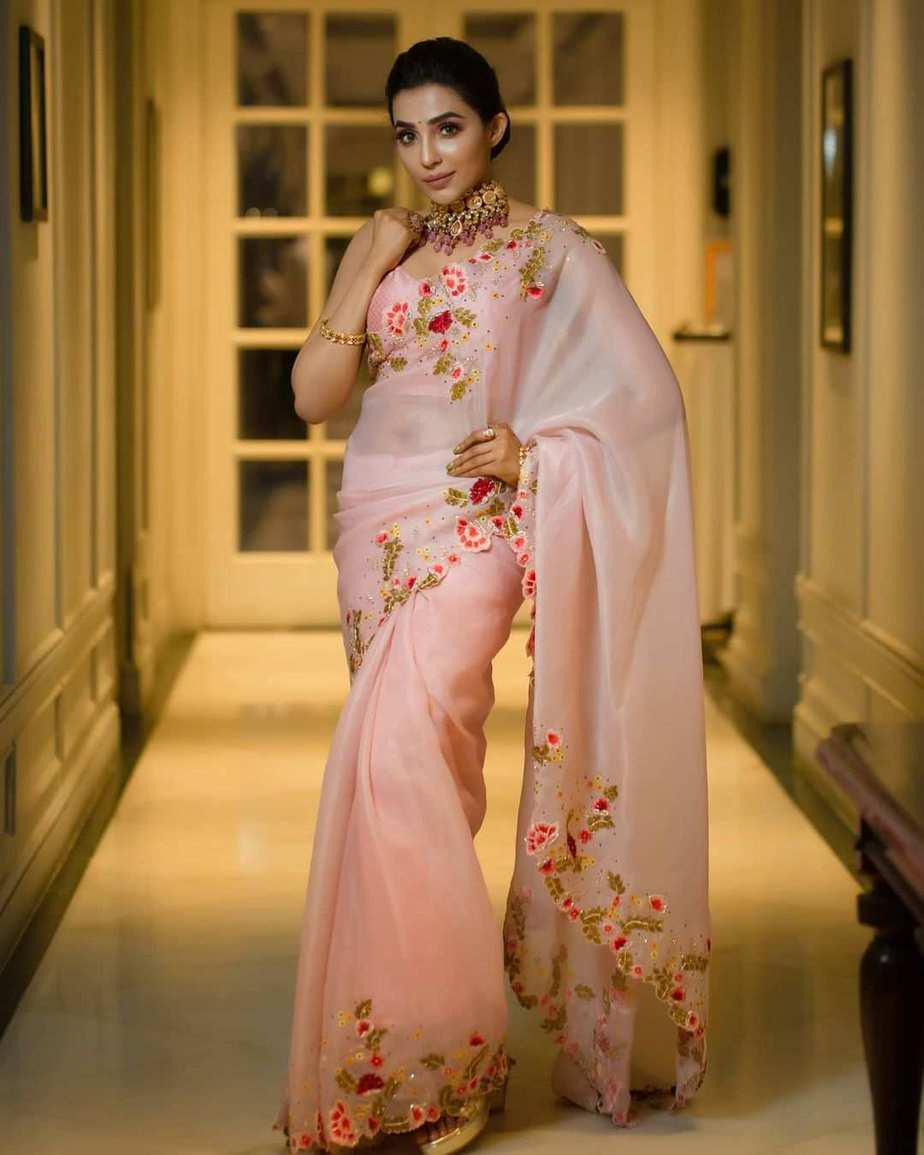 parvati nair in embellished organza saree