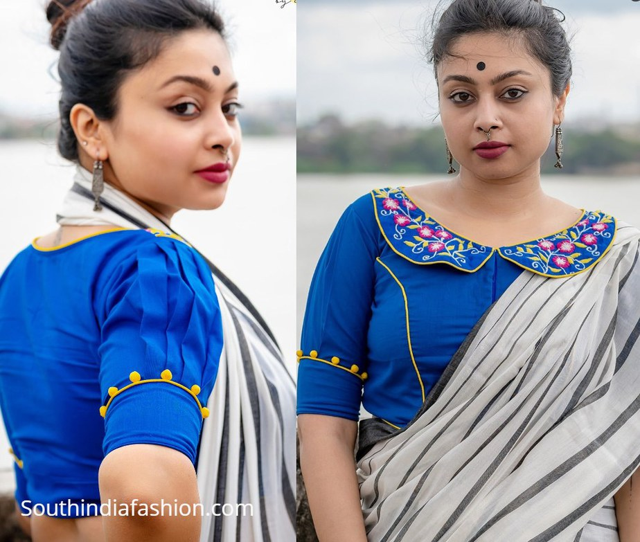peter pan collar blue choli from motif by chandrayee