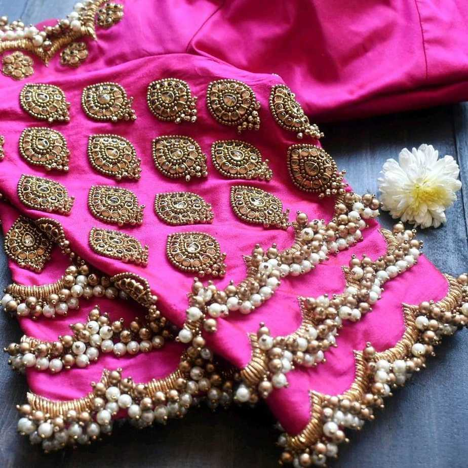 pink bridal blouse sleeves work detaili
