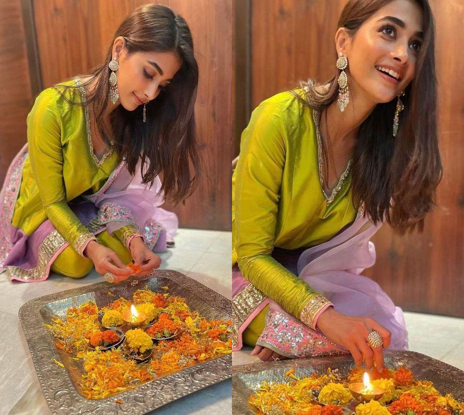 pooja hegde diwali celebration in manish malhotra suit set