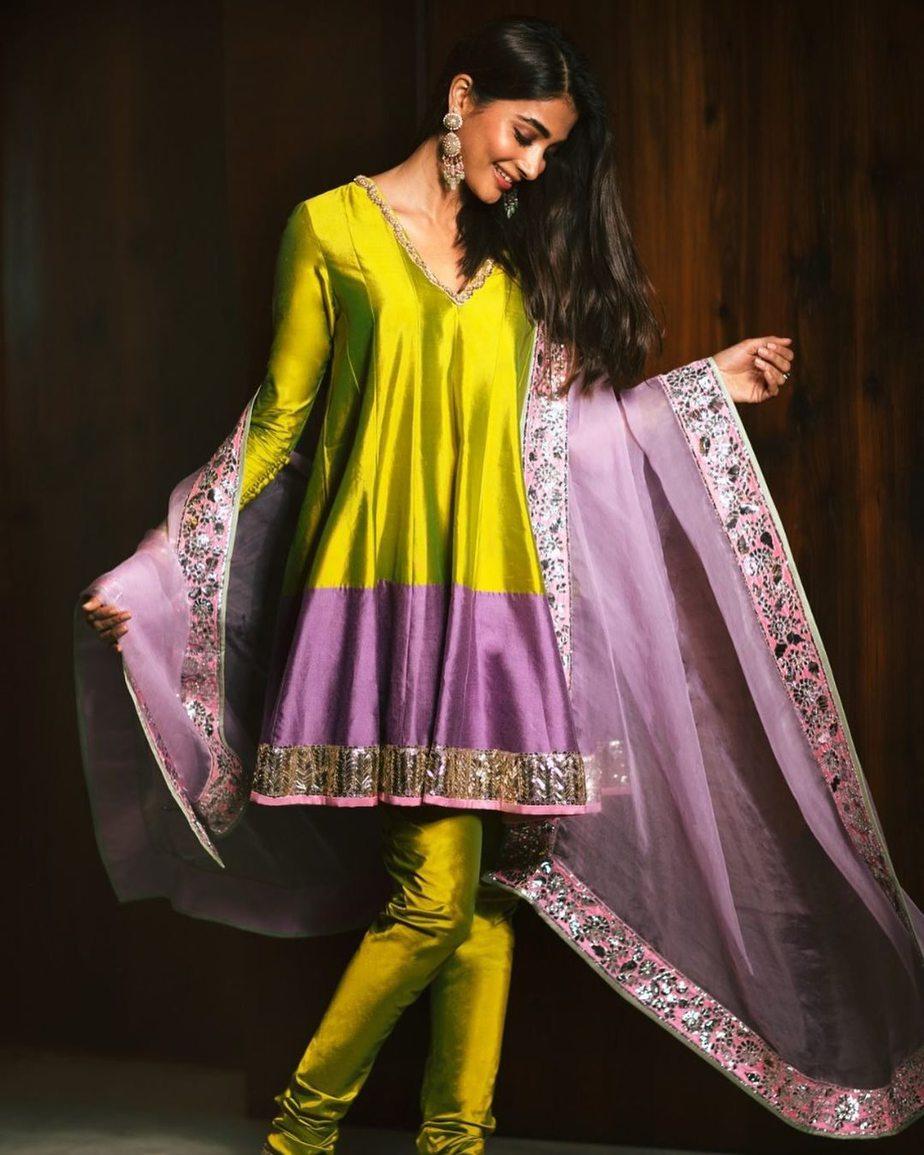 pooja hegde green purple manish malhotra suit diwali