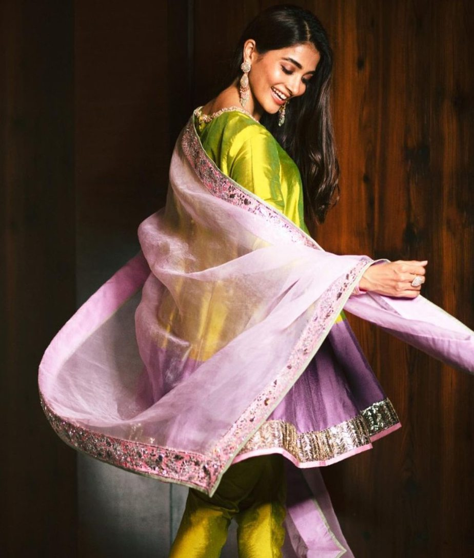 pooja hegde in manish malhotra suit for diwali 2020
