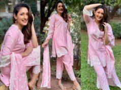 pragya jaiswal in cotton pink short kurta set
