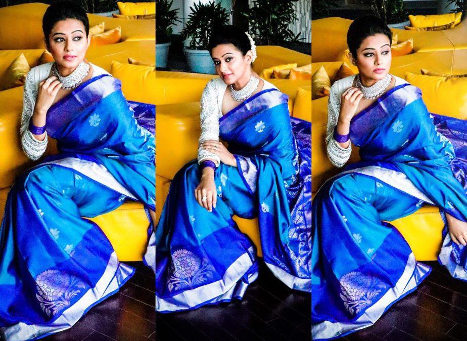 priyamani diwali look in blue silk saree