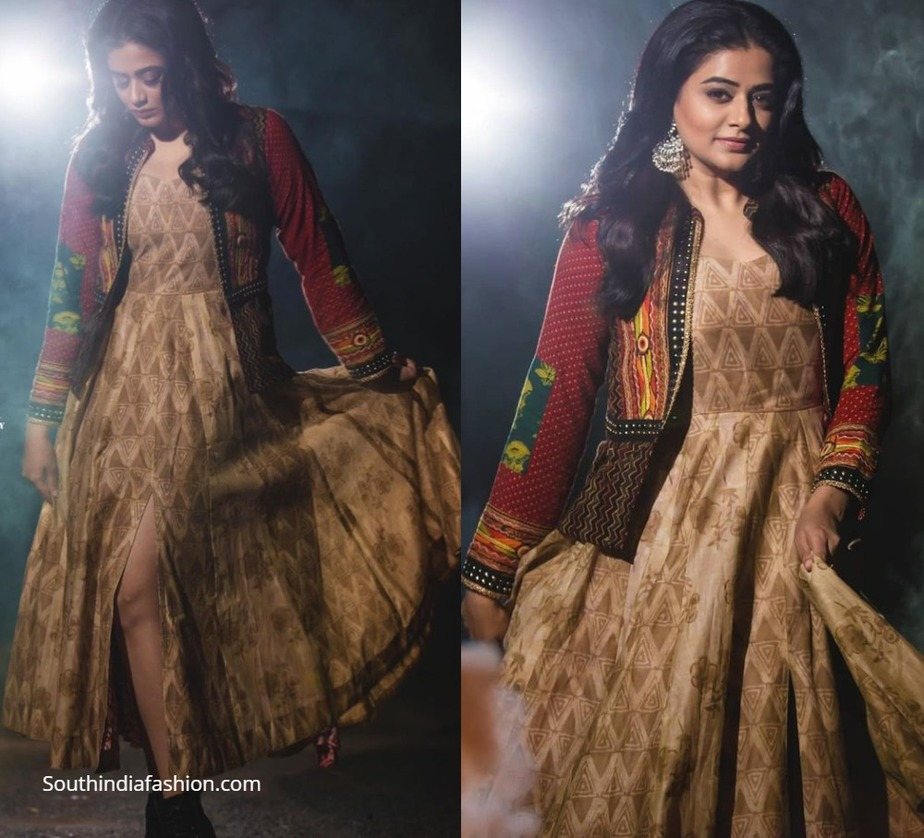 priyamani in an ivory ethnic dress with a bohemian jacket